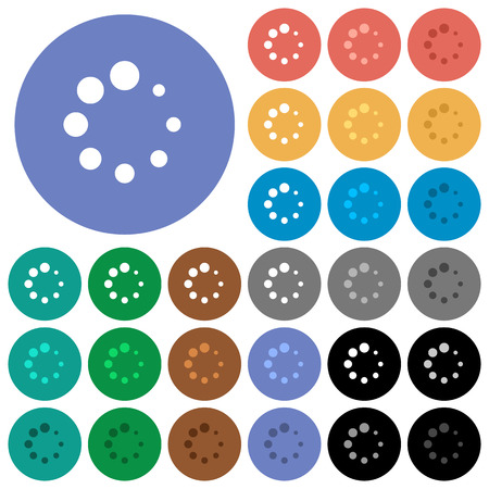 Preloader symbol multi colored flat icons on round backgrounds. Included white, light and dark icon variations for hover and active status effects, and bonus shades on black backgounds.