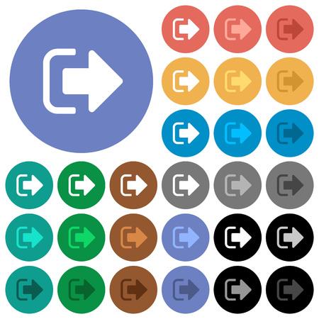 Cerrar sesión en iconos planos multicolores sobre fondos redondos. Incluye variaciones de íconos blancos, claros y oscuros para efectos de estado activo y de desplazamiento, y tonos de bonificación en fondos negros. Ilustración de vector