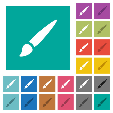 Brush multi colored flat icons on plain square backgrounds. Included white and darker icon variations for hover or active effects.