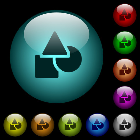 Basic geometric shapes icons in color illuminated spherical glass buttons on black background. Can be used to black or dark templates
