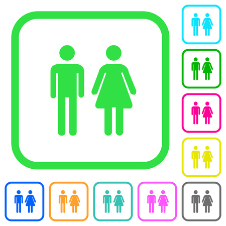 Male and female sign vivid colored flat icons in curved borders on white background Illustration