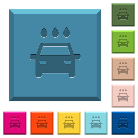 Car wash engraved icons on edged square buttons in various trendy colors Illustration