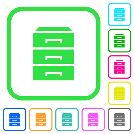 Categorize vivid colored flat icons in curved borders on white background