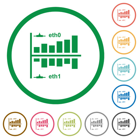Network statistics flat color icons in round outlines on white background