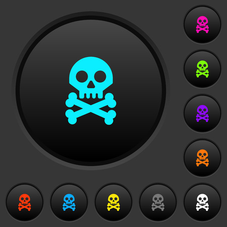 Skull with bones dark push buttons with vivid color icons on dark grey background