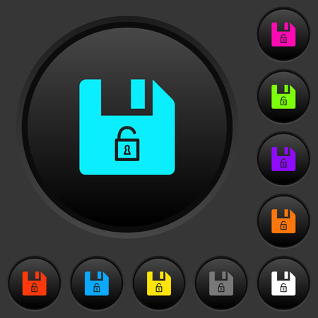 Unlock file dark push buttons with vivid color icons on dark grey background