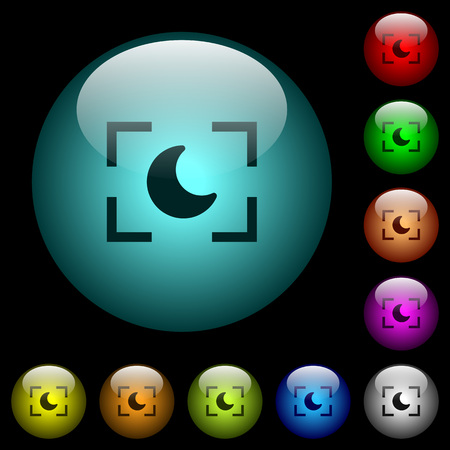Camera night mode icons in color illuminated spherical glass buttons on black background. Can be used to black or dark templates