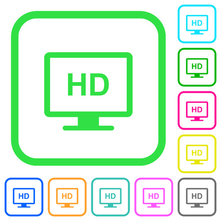 HD display vivid colored flat icons in curved borders on white background  イラスト・ベクター素材