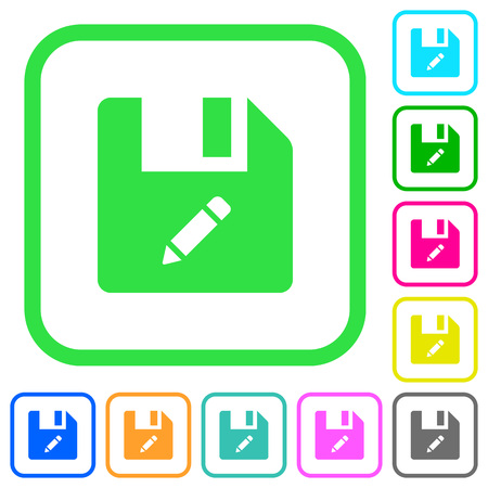 Rename file vivid colored flat icons in curved borders on white background