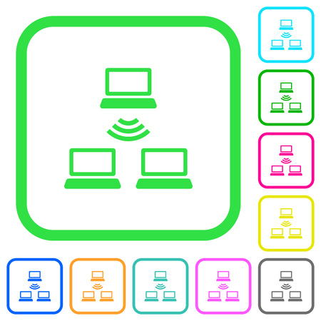 Wireless network vivid colored flat icons in curved borders on white background Illustration