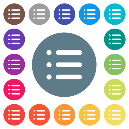 Unordered list flat white icons on round color backgrounds. 17 background color variations are included.