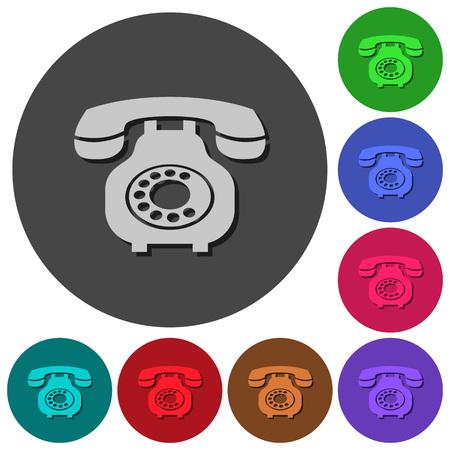 Vintage retro telephone icons with shadows on color round backgrounds for material design Ilustração