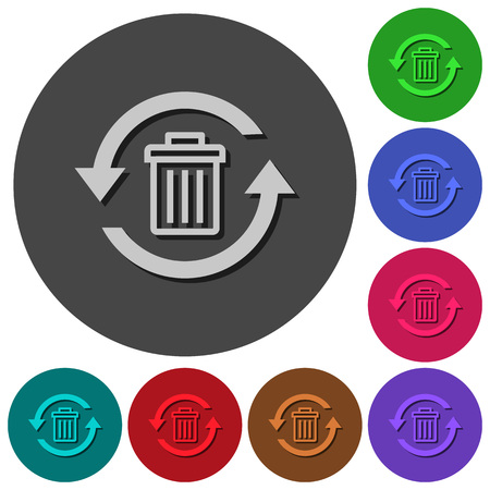 Undelete icons with shadows on color round backgrounds for material design