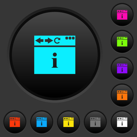 Browser info dark push buttons with vivid color icons on dark grey background