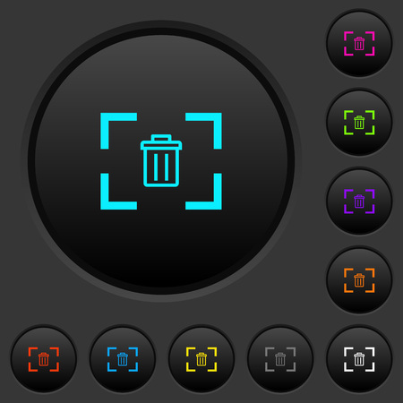 Delete image from camera dark push buttons with vivid color icons on dark grey background