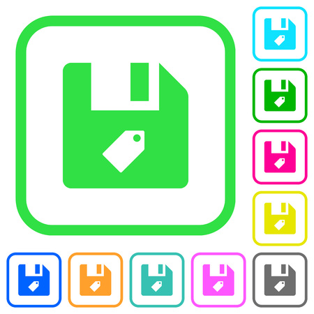 Tag file vivid colored flat icons in curved borders on white background