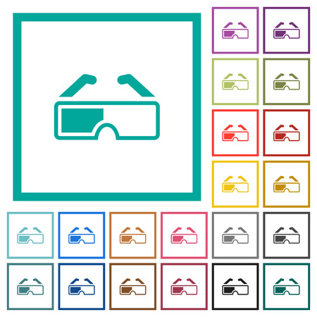 Retro 3d glasses flat color icons with quadrant frames on white background