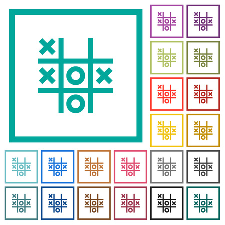Tic tac toe game flat color icons with quadrant frames on white background