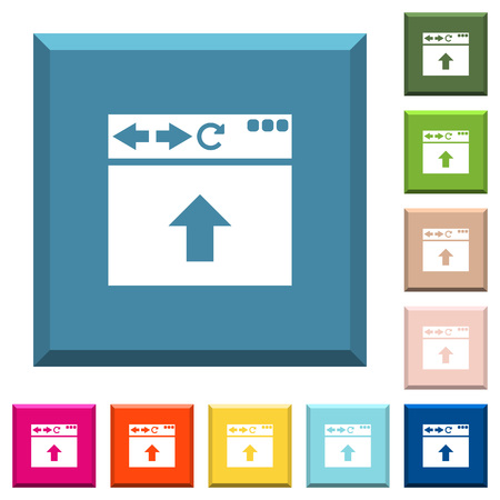 Browser scroll up white icons on edged square buttons in various trendy colors Ilustrace