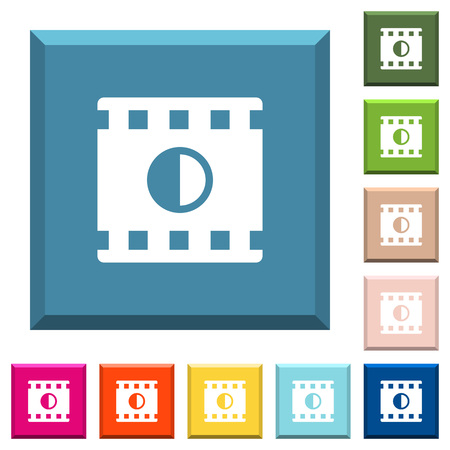 Movie contrast white icons on edged square buttons in various trendy colors