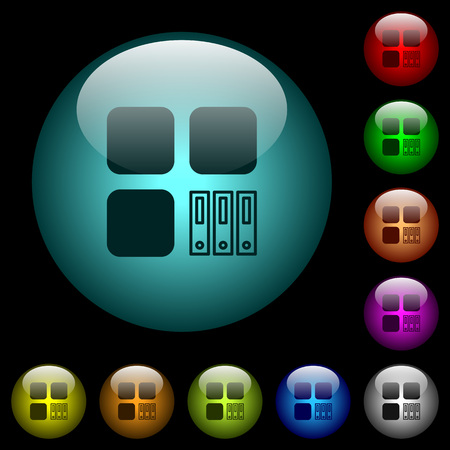 Archive component icons in color illuminated spherical glass buttons on black background. Can be used to black or dark templates
