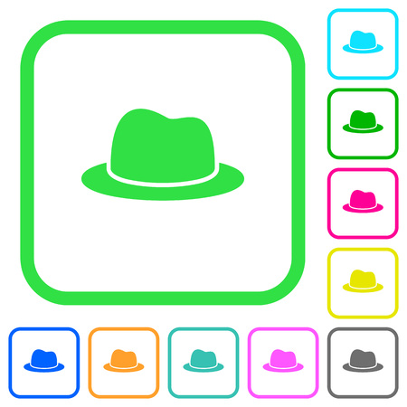 Hat vivid colored flat icons in curved borders on white background Illustration