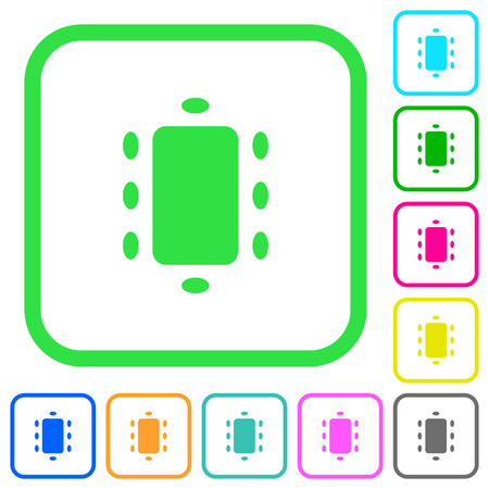 Meeting vivid colored flat icons in curved borders on white background
