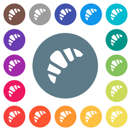 Bakery flat white icons on round color backgrounds. 17 background color variations are included. Illustration