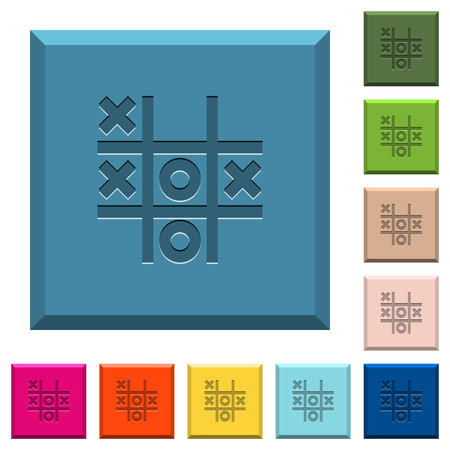 Tic tac toe game engraved icons on edged square buttons in various trendy colors