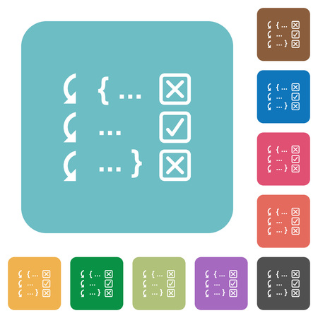 Debugging program white flat icons on color rounded square backgrounds