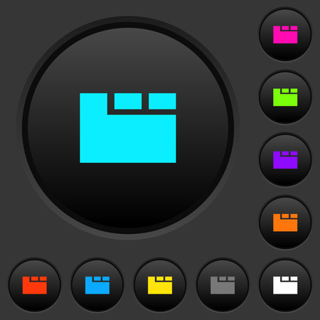 Horizontal tabbed layout active dark push buttons with vivid color icons on dark grey background