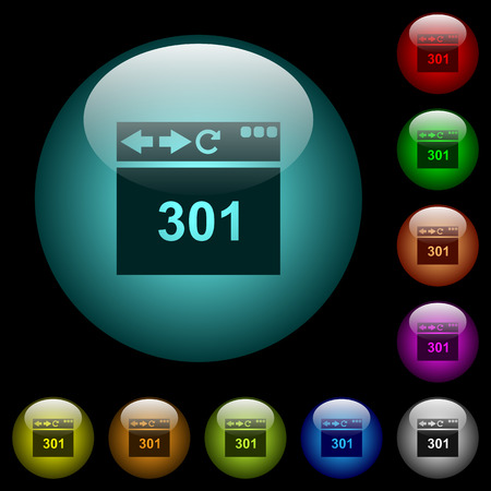 Browser 301 Moved Permanently icons in color illuminated spherical glass buttons on black background. Can be used to black or dark templates