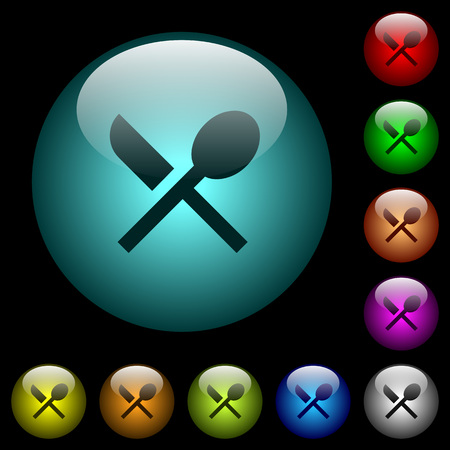 Dining icons in color illuminated spherical glass buttons on black background. Can be used to black or dark templates