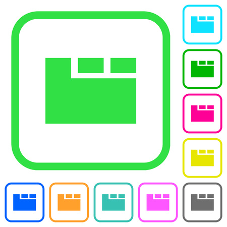 Horizontal tabbed layout active vivid colored flat icons in curved borders on white background