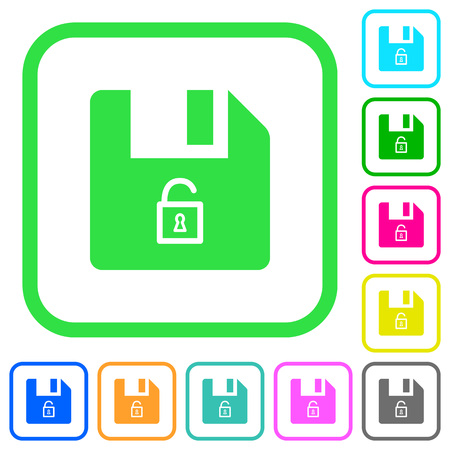 Unlock file vivid colored flat icons in curved borders on white background