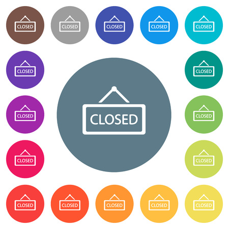 Closed sign flat white icons on round color backgrounds. 17 background color variations are included.