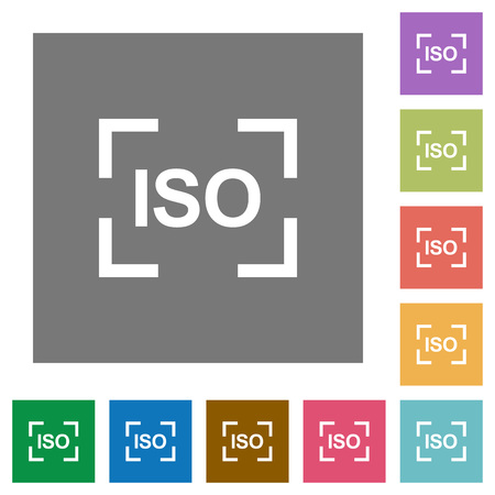 Camera iso speed setting flat icons on simple color square backgrounds 向量圖像