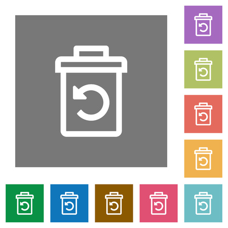 Undelete flat icons on simple color square backgrounds Illustration