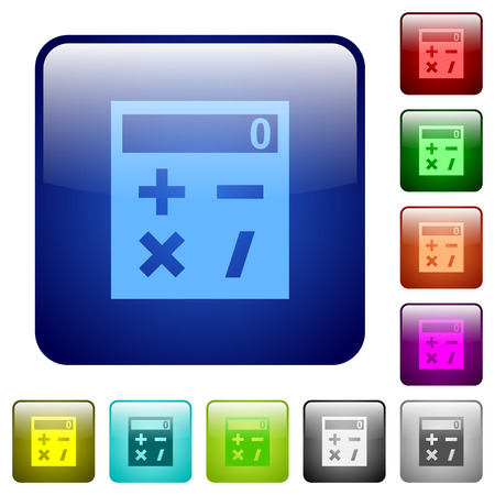 Pocket calculator icons in rounded square color glossy button set Çizim