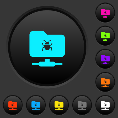 FTP bug dark push buttons with vivid color icons on dark grey background Vectores
