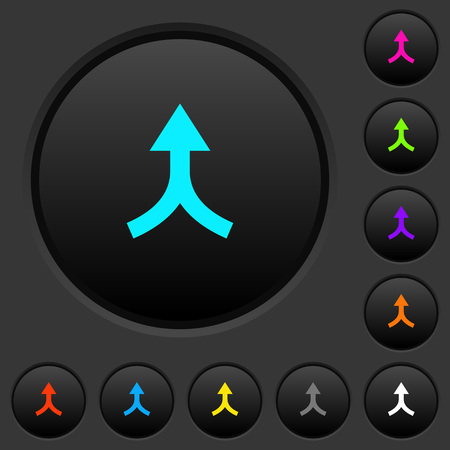 Merge arrows up dark push buttons with vivid color icons on dark grey background Stockfoto - 104165444