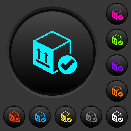 Package delivered dark push buttons with vivid color icons on dark grey background 向量圖像