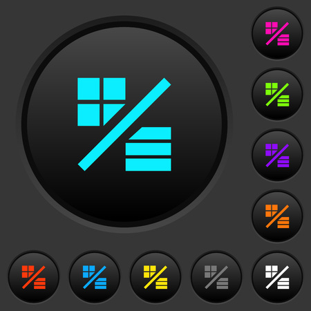 View mode dark push buttons with vivid color icons on dark grey background