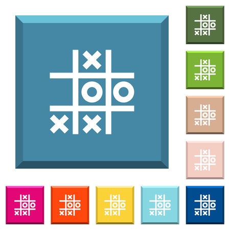 Tic tac toe game white icons on edged square buttons in various trendy colors