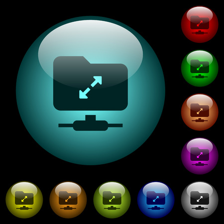 FTP uncompress icons in color illuminated spherical glass buttons on black background. Can be used to black or dark templates Illustration