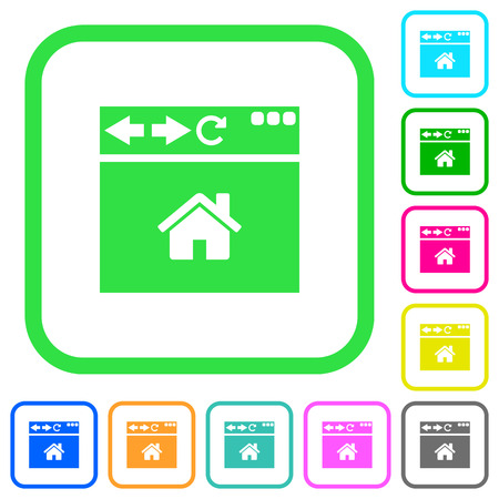 Browser home page vivid colored flat icons in curved borders on white background