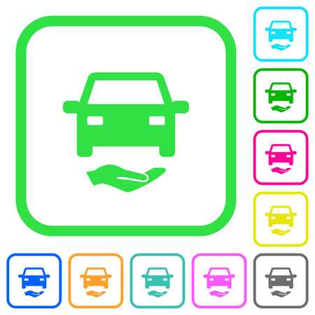 Car insurance vivid colored flat icons in curved borders on white background