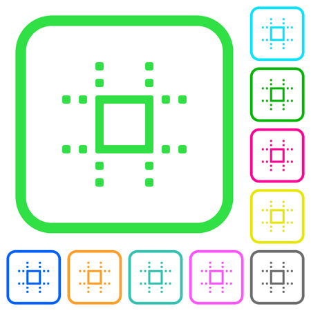 Snap to grid vivid colored flat icons in curved borders on white background Illustration