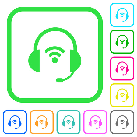 Wireless headset vivid colored flat icons in curved borders on white background