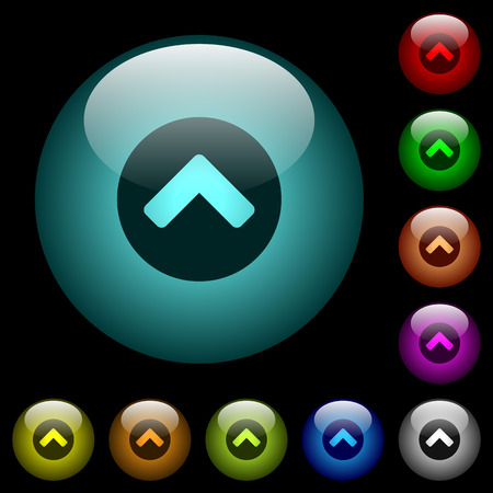 Chevron up icons in color illuminated spherical glass buttons on black background. Can be used to black or dark templates